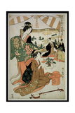 P.348-1945 Scene 1, Comparison of Celebrated Beauties and the Loyal League, C.1797 Gicléetryck av Kitagawa Utamaro