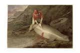 Flinching a Yearling, a Young Sea Elephant, Tristan Da Cunha, C.1824 Giclee Print by Augustus Earle