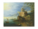 Sea Coast with the Temple of Vesta Giclee Print by Paul Brill Or Bril