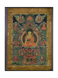 Thangka of Shakyamuni Buddha with Eleven Figures, 19th-20th Century Impressão giclée