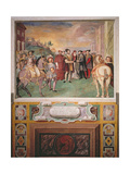 Emperor Charles V (1500-58) and Francis I (1494-1547) Make Peace under the Auspices of Pope Paul… Giclee Print by Taddeo Zuccaro