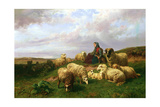 Shepherdess Resting with Her Flock, 1867 Giclee Print by Edmond Jean-Baptiste Tschaggeny