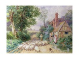 Shepherd and His Flock Passing a Country Cottage Giclee Print by Myles Birket Foster