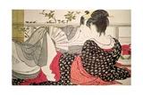 Lovers from the 'Poem of the Pillow' ('Uta Makura') Reproduction procédé giclée par Kitagawa Utamaro