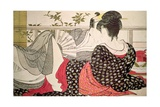 Lovers from the 'Poem of the Pillow' ('Uta Makura') Gicleetryck av Kitagawa Utamaro