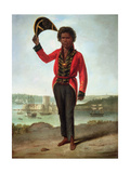 Portrait of Bungaree, a Native of New South Wales, with Fort Macquarie, Sydney Harbour in the… Giclee Print by Augustus Earle