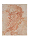 Head of a Bearded Man Shouting, C.1525 Giclee Print by  Michelangelo Buonarroti