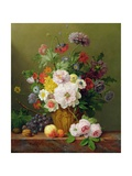 Still Life with Flowers and Fruit Giclee Print by Anthony Obermann