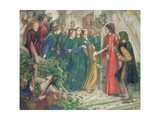Beatrice Meeting Dante at a Marriage Feast Denies Him Her Salutation, 1860s Giclee Print by Dante Charles Gabriel Rossetti