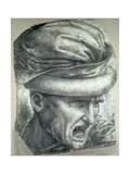 Head of a Warrior, Copy of a Detail from 'The Battle of Anghiari' Giclee Print by Leonardo Da Vinci