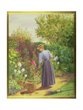 Lady Gardening in a Herbaceous Border Giclee Print by Marian Emma Chase