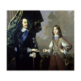 Double Portrait of Charles I (1600-49) and James, Duke of York (1633-1701) Giclee Print by Sir Peter Lely