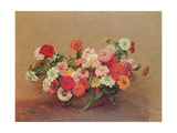 Zinnias in a Glass Bowl, 1886 Giclee Print by Ignace Henri Jean Fantin-Latour