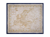 T.143-1938 Sampler Showing a Map of Europe Sewn by Fanny Le Gay, Presented to M. Le Comte… Giclee Print