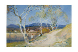 Couple by a River Giclee Print by Albert Moulton Foweraker