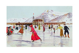The Skating Rink in Davos, Switzerland Giclee Print by Carlo Pellegrini