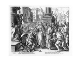 Saints Paul and Barnabas Preaching in Lystra, Engraved by P. Galleus Giclee Print by Jan van der Straet