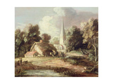 Landscape with a Church, Cottage, Villagers and Animals, C.1771-2 Giclee-trykk av Gainsborough, Thomas