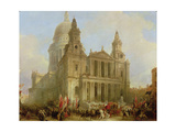 St. Paul's Cathedral with the Lord Mayor's Procession, 1836 Giclee Print by David Roberts