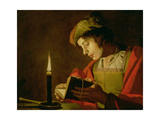 Young Man Reading by Candle Light Giclee Print by Matthias Stomer