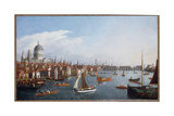 View of the River Thames with St. Paul's and Old London Bridge Giclee Print by William James