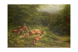 Foxes Waiting for the Prey Giclee Print by Carl Friedrich Deiker
