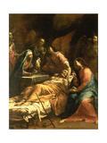 The Death of St. Joseph, C.1712 Giclée-tryk af Giuseppe Maria Crespi