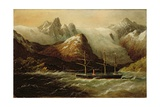 H.M.S. Zealous Passing the Glaciers in the Magellan Straits, Patagonia, 1874 Giclee Print by Richard Bridges Beechey