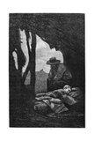 Jean Valjean Watching over Cosette Asleep, Illustration from 'Les Miserables' by Victor Hugo Giclee Print by Gustave Brion