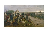 The Morning of the Battle of Waterloo: the French Await Napoleon's Orders, 1876 Giclée-tryk af Ernest Crofts