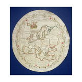 T.142-1938 Sampler Showing a Map of Europe, English, Late 18th Century Giclee Print