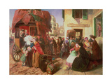 The Departure of a Diligence from Biarritz, 1862 Giclee Print by Abraham Solomon