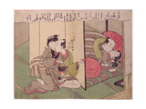 E223-1968 a 'Shunga' (Erotic) Print: a Servant Toys with the Maid While the Master Makes Love to… Giclee Print by Isoda Koryusai
