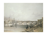 London Bridge, from Above the Bridge, Engraved by William Simpson (1823-99), Pub. 1852 by Lloyd… Giclee Print by Edmund Walker