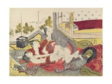 A 'Shunga'(Erotic) Print: a Woman and Two Men Giclee Print by Kitao Masanobu