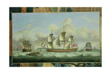 Three British Frigates Offshore, 1782 Giclee Print by Thomas Luny
