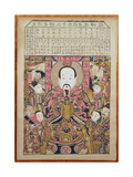 Kitchen God with Lunar Calendar, 1895 Giclee Print by Qing Dynasty Chinese School