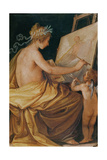 Painting, Assisted by a Cherub, Depicting Fame Giclee Print by Giovanni Mannozzi