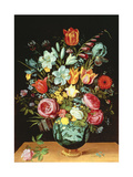 A Still Life of Flowers in a Porcelain Vase Resting on a Ledge Giclee Print by Phillipe De Marlier
