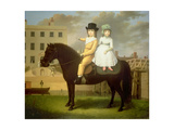 Two Children Seated on a Black Pony Giclee Print by Nathan Theodore Fielding
