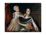 Portrait of Queen Mary of Modena (1658-1718) with Prince James Stuart (1688-1766), 1692-93 Giclee Print by Benedetto The Younger Gennari