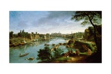 View of the River Tiber in Rome Giclee Print by Gaspar van Wittel