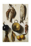 A Trompe L'Oeil of Fish, Cooking Utensils, Vegetables and Fruit Giclee Print by Vicente Victoria or Vitoria