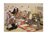 Painting and Calligraphy Party at the Manpachiro Teahouse, 1827 Giclée-Druck von Utagawa Kunisada