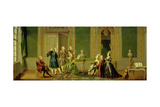 Gustavian Style Interior with a Musical Party Giclee Print by Pehr Hillestrom