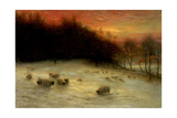 Sheep in a Winter Landscape, Evening Giclee Print by Joseph Farquharson