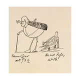 Edward Lear Aged 73 and a Half and His Cat Foss, Aged 16 Giclee Print by Edward Lear