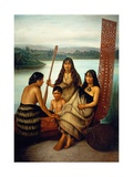Three Maori Girls and a Boy Sitting on a Large Carved Maori Canoe by a Lake, 1899 Giclee Print by Gottfried Lindauer