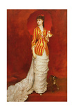 Portrait of a Lady in a Striped Jacket with a Parasol Giclee Print by Edouard Alexandre Sain