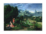 The Rest on the Flight into Egypt, Landscape Painted by Joachim Patinir (Fl.1515-25) Giclee Print by  Master of the Female Half Lengths